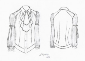 technical sketch for white gothic men's shirt with pleated jabot, sleeves and ruffles