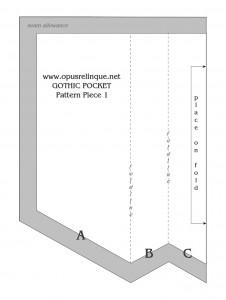 Gothic Pocket: Pattern Piece 1