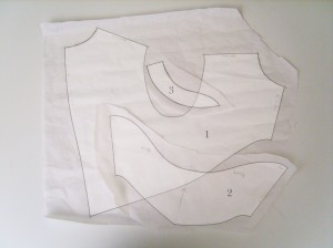 body pattern (1), sleeve pattern (2), collar pattern (3)