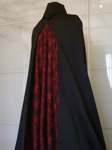 Cathedral Cape showing godet brocade panel embedded within rear gothic window.