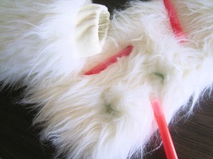 Furry leg-warmers / boot-covers with 6 inch glow sticks