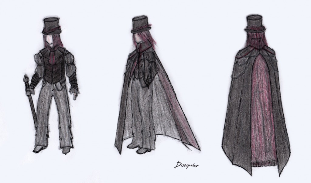 top-hat, shirt, gilet, gothic cape