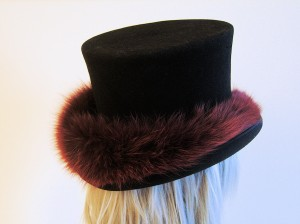 Fur Covered Top Hat: back view