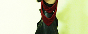 Gothic Horned Fantasy dance outfit with leather gloves