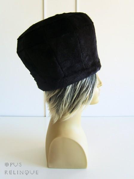 Polyhedral satin-lined black-pelt top-hat.