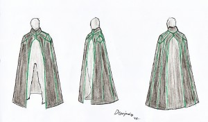 Sketch for a gothic cape with Art-deco style structure