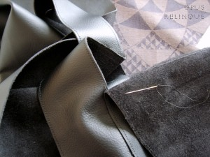 Method for baste-sewing thick leather.