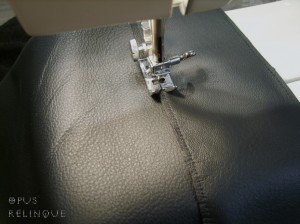 Stitching thick 6 oz leather with a regular machine.