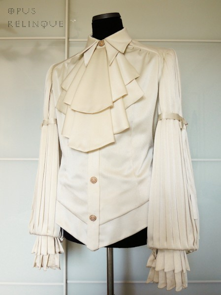 white Elegant Gothic Aristocrat shirt with folded jabot