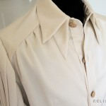 Art-Deco silk Gothic shirt design with double collar and breast-pleats
