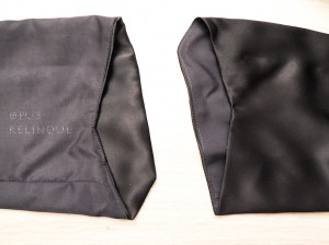 Understitching on silk blouse sleeve hem, shown regularly and inside-out.