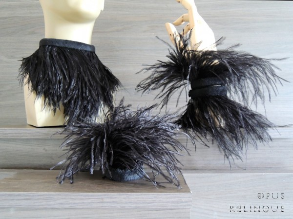 Gothic burlesque ostrich feather choker-collar, princess crown and wristcuff bracelets.