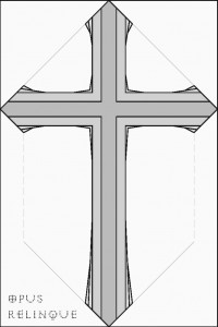 Gothic cross with both straight and rounded ends