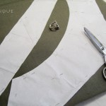 Cutting collar from high quality canvas interfacing in bias direction