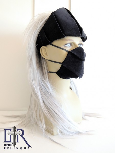 Black velvet Gotic headdress and facemask