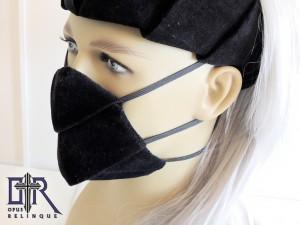 Gothic bondage back-velvet cyber bio mask.