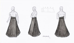 gothic wrap skirt with pleats for men