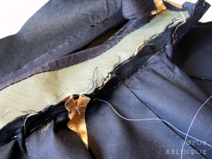 basting and sewing ineterfaced collar to a cape bodice