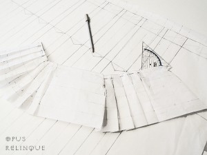 tailored pleat skirt pattern drawing.