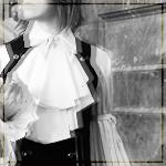 Elegant Gothic Aristocrat, sleeveles coat and pleated shirt design.