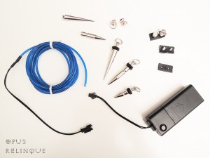 Blue EL-wire, transformator and gliding metal ballast