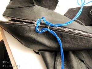 Tying El- glow wire in a slipknot.