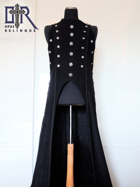 Black long gothic coat-vest front view